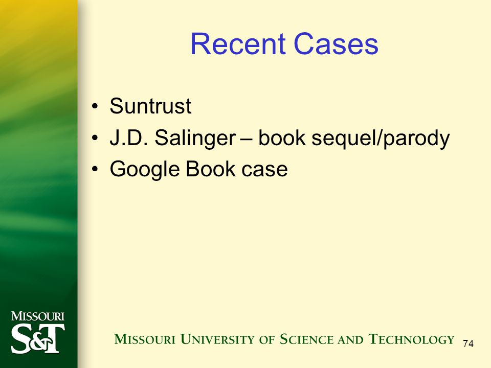 Recent Cases Suntrust J.D. Salinger – book sequel/parody