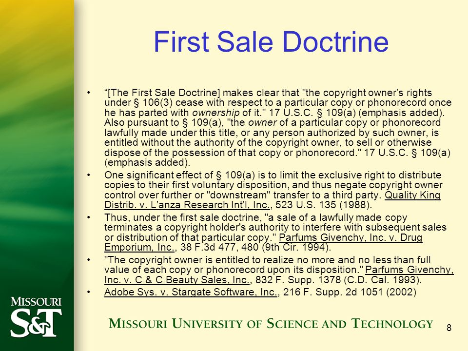 First Sale Doctrine