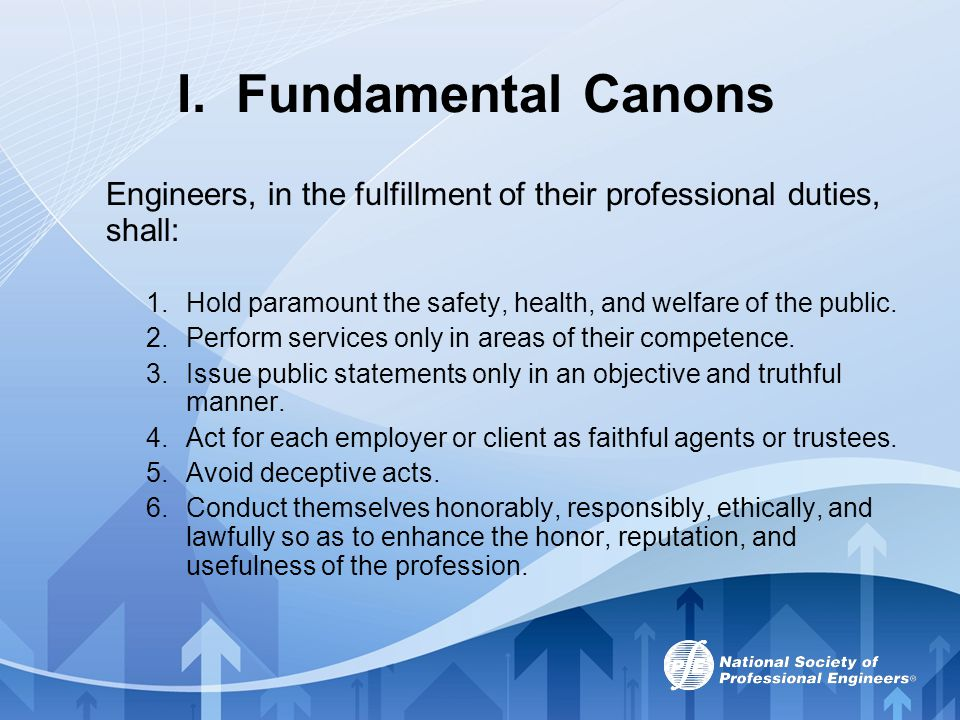I. Fundamental Canons Engineers, in the fulfillment of their professional duties, shall: