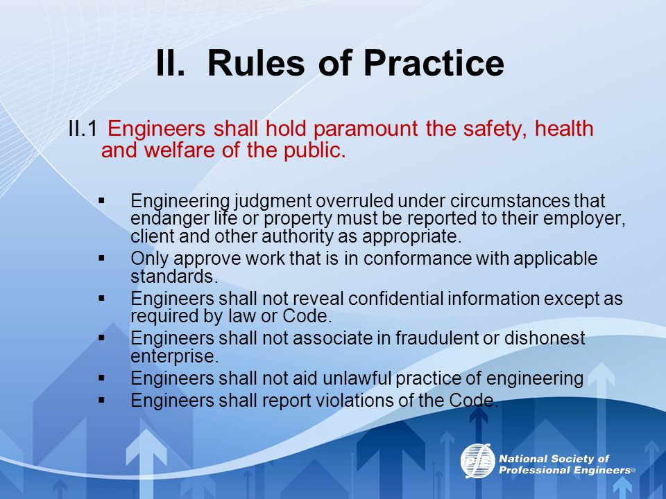 II. Rules of Practice II.1 Engineers shall hold paramount the safety, health and welfare of the public.