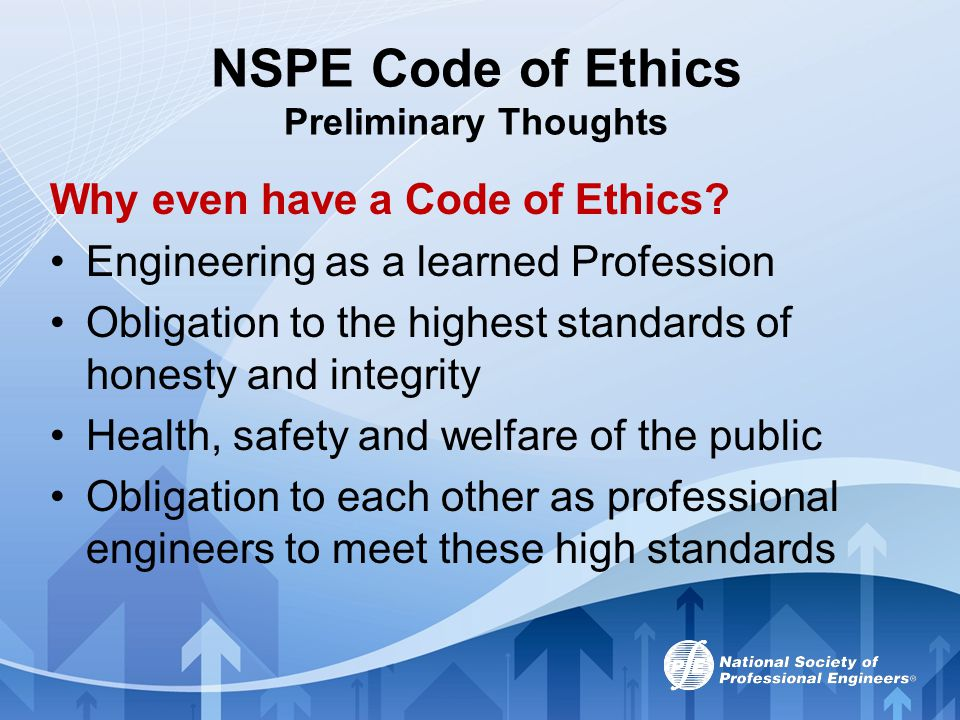 NSPE Code of Ethics Preliminary Thoughts