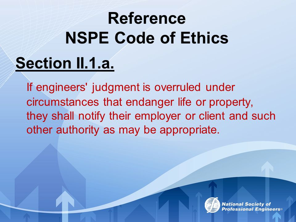 Reference NSPE Code of Ethics