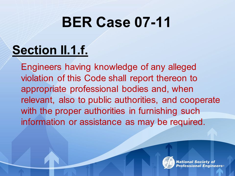 BER Case 07-11 Section II.1.f.