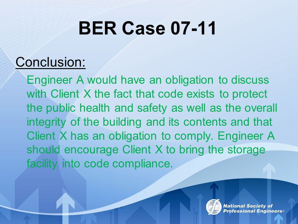 BER Case 07-11 Conclusion: