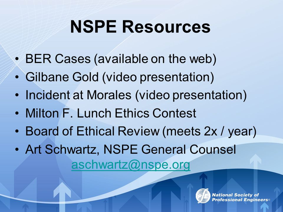 NSPE Resources BER Cases (available on the web)