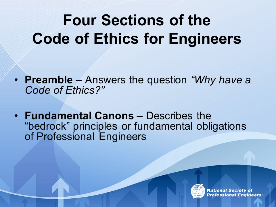 Four Sections of the Code of Ethics for Engineers