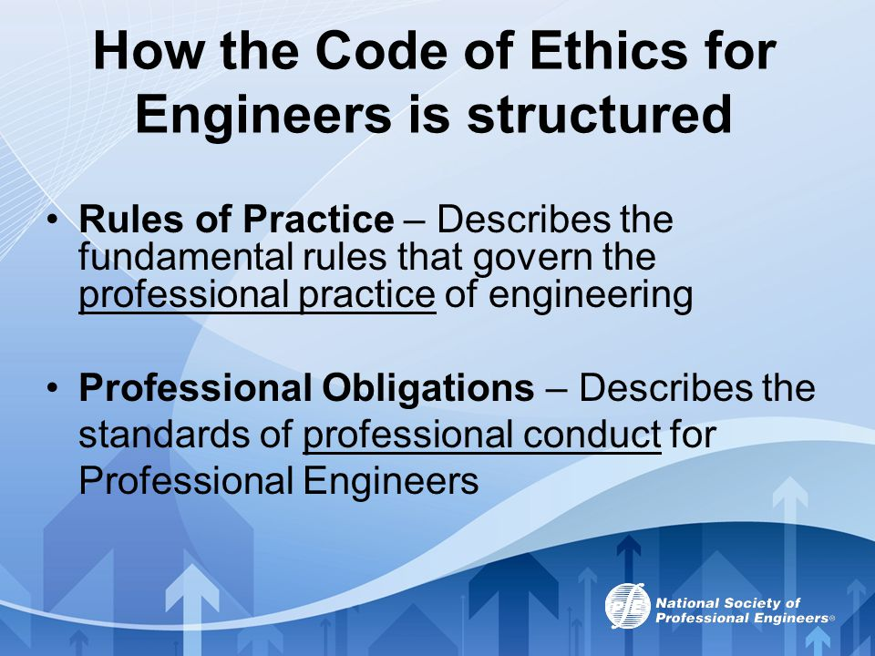 How the Code of Ethics for Engineers is structured