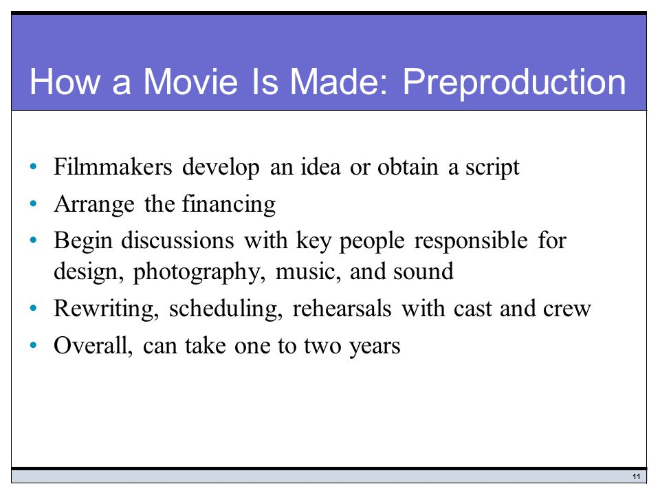How a Movie Is Made: Preproduction