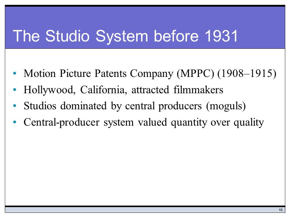 The Studio System before 1931