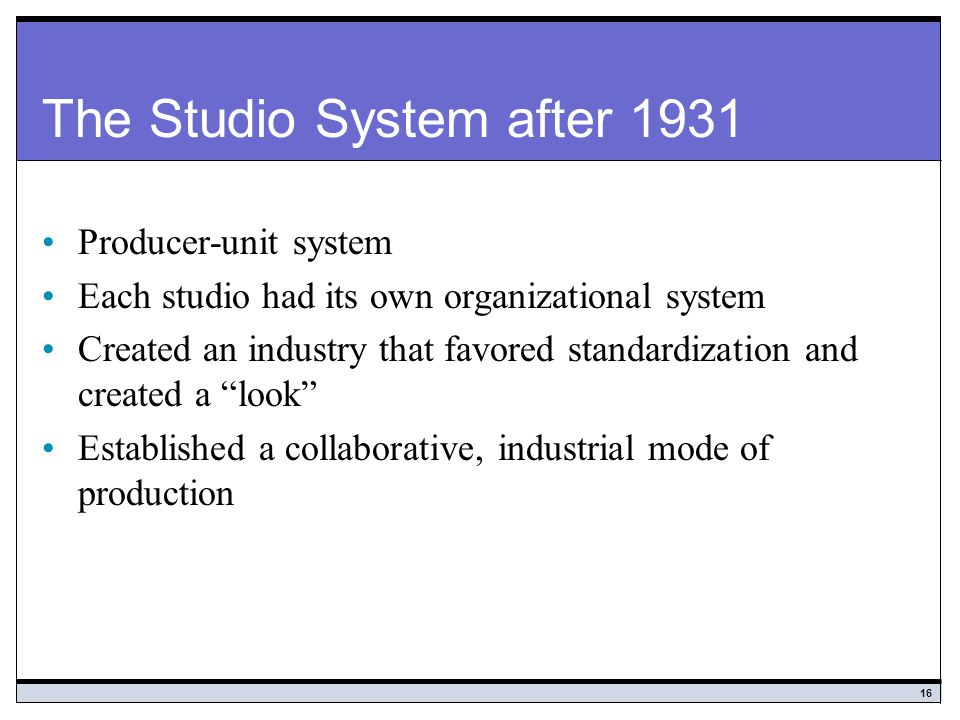 The Studio System after 1931