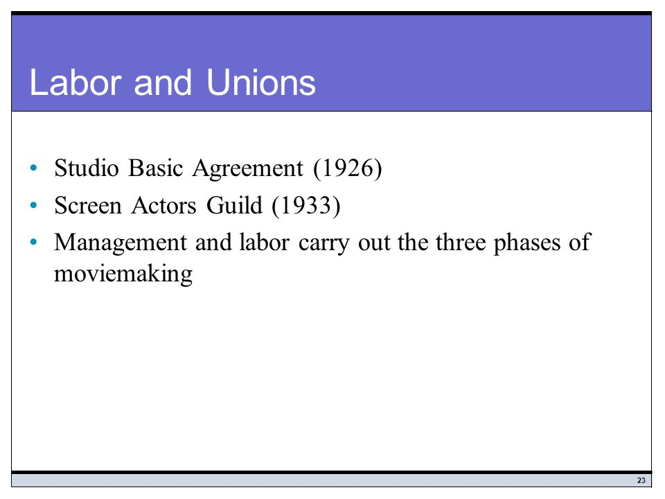 Labor and Unions Studio Basic Agreement (1926)