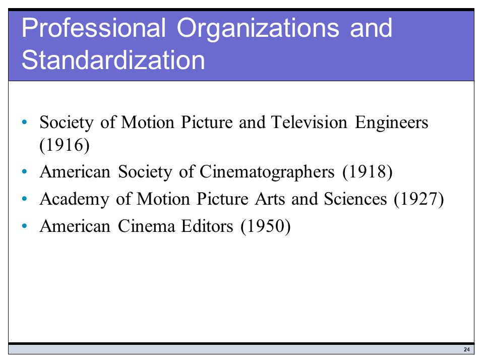Professional Organizations and Standardization