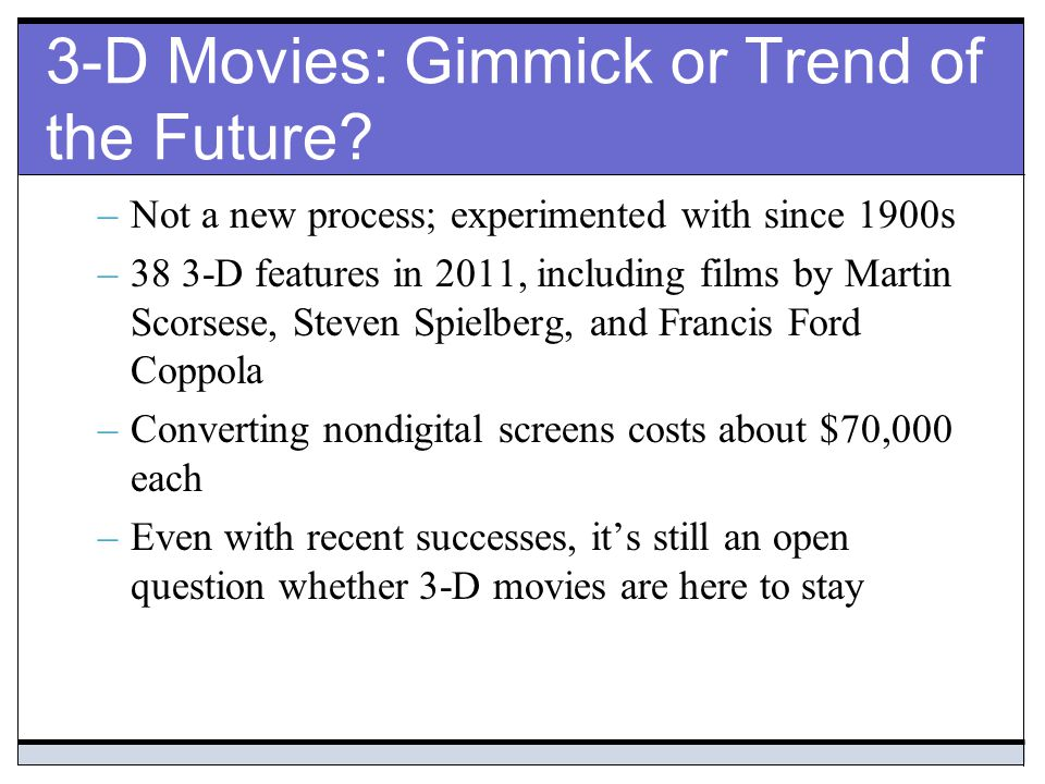 3-D Movies: Gimmick or Trend of the Future