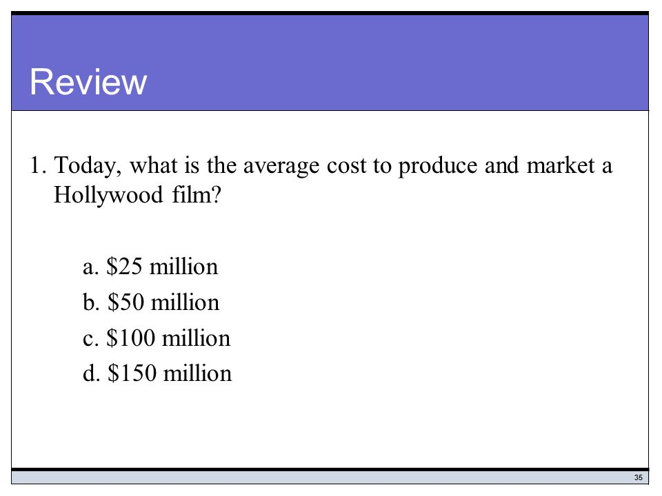 Review 1. Today, what is the average cost to produce and market a Hollywood film a. $25 million. b. $50 million.