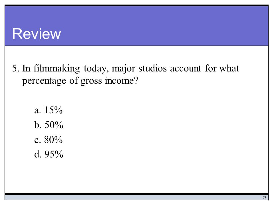 Review 5. In filmmaking today, major studios account for what percentage of gross income a. 15% b. 50%