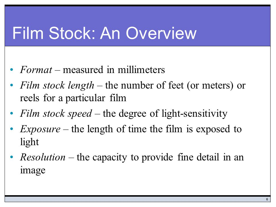 Film Stock: An Overview