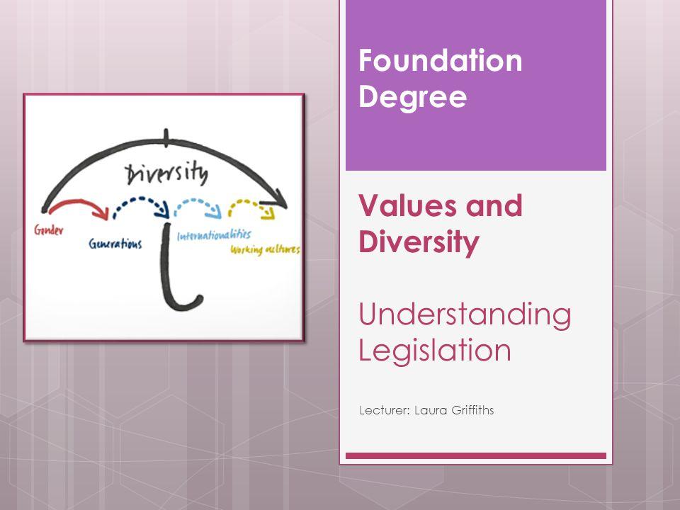 Foundation Degree Values and Diversity Understanding Legislation