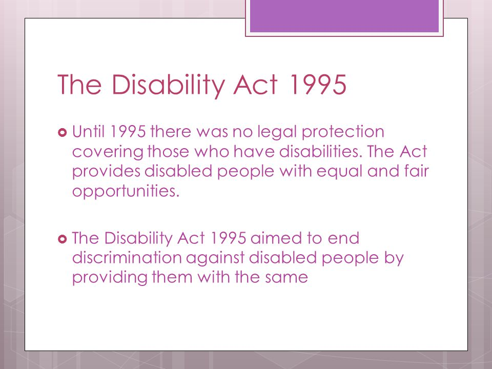 The Disability Act 1995