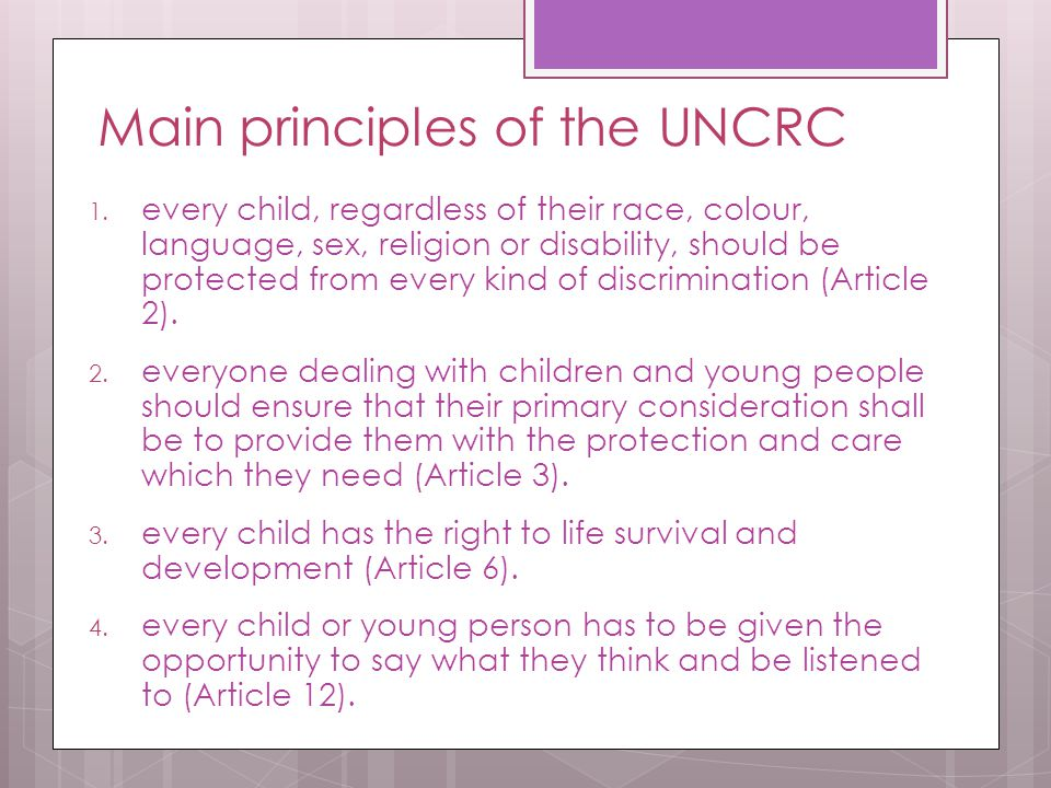 Main principles of the UNCRC