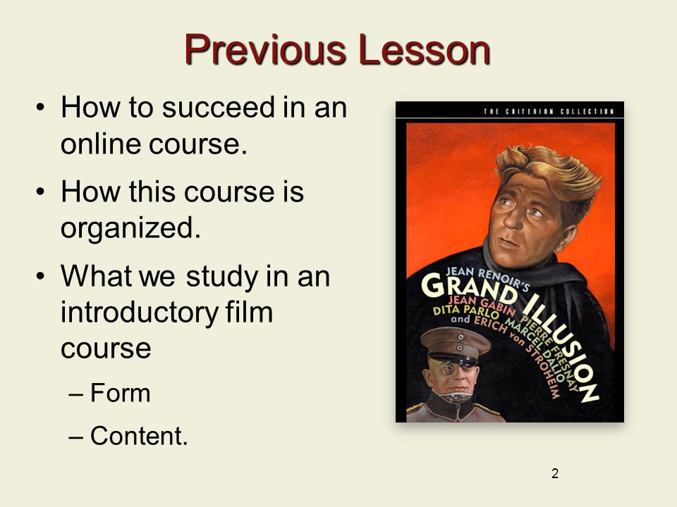 Previous Lesson How to succeed in an online course.