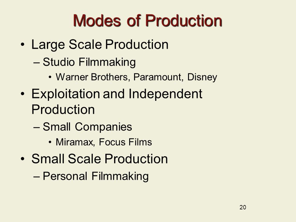 Modes of Production Large Scale Production