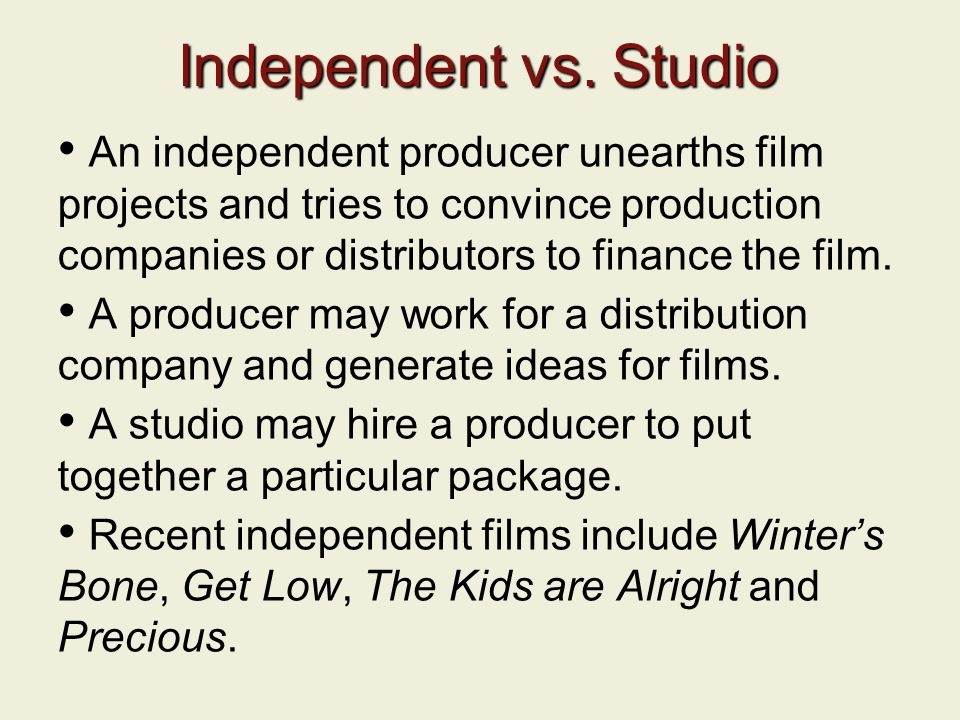 Independent vs. Studio