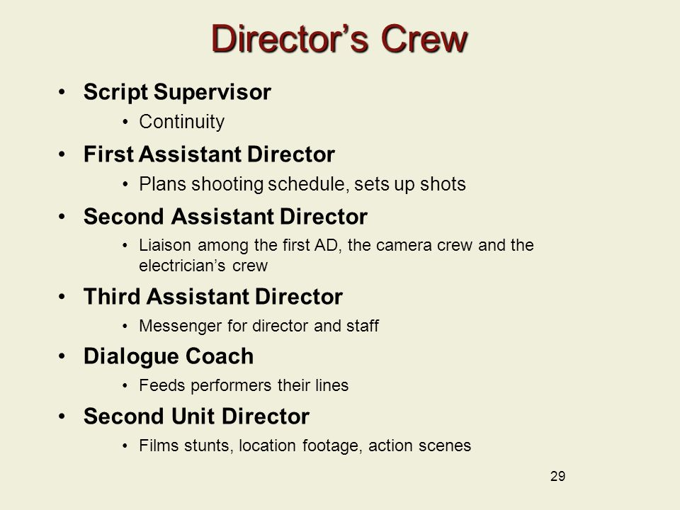 Director's Crew Script Supervisor First Assistant Director