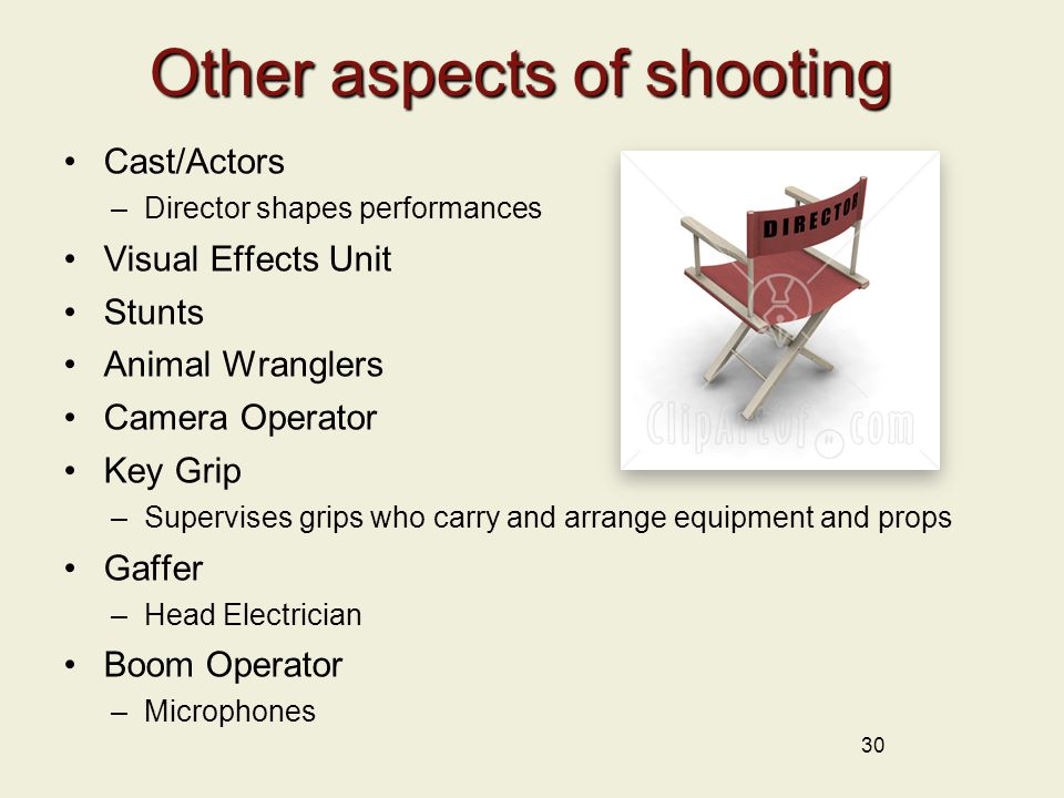 Other aspects of shooting