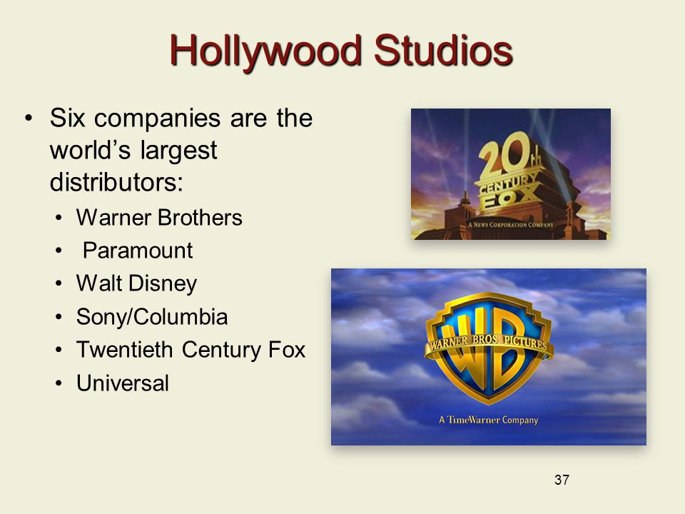 Hollywood Studios Six companies are the world's largest distributors: