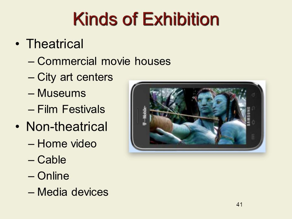 Kinds of Exhibition Theatrical Non-theatrical Commercial movie houses