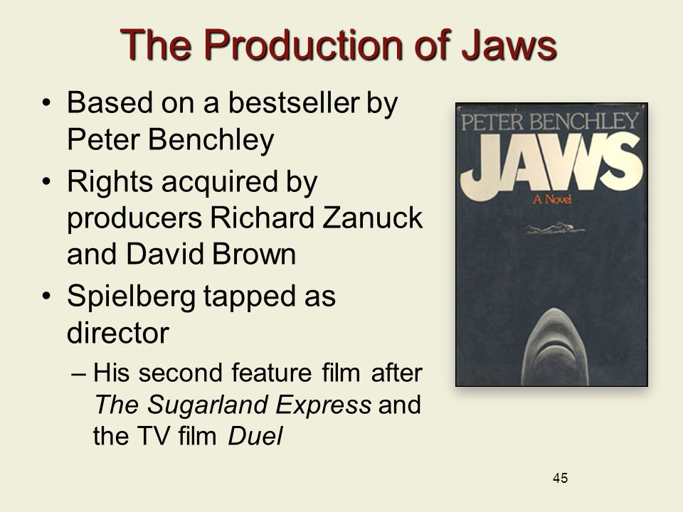 The Production of Jaws Based on a bestseller by Peter Benchley