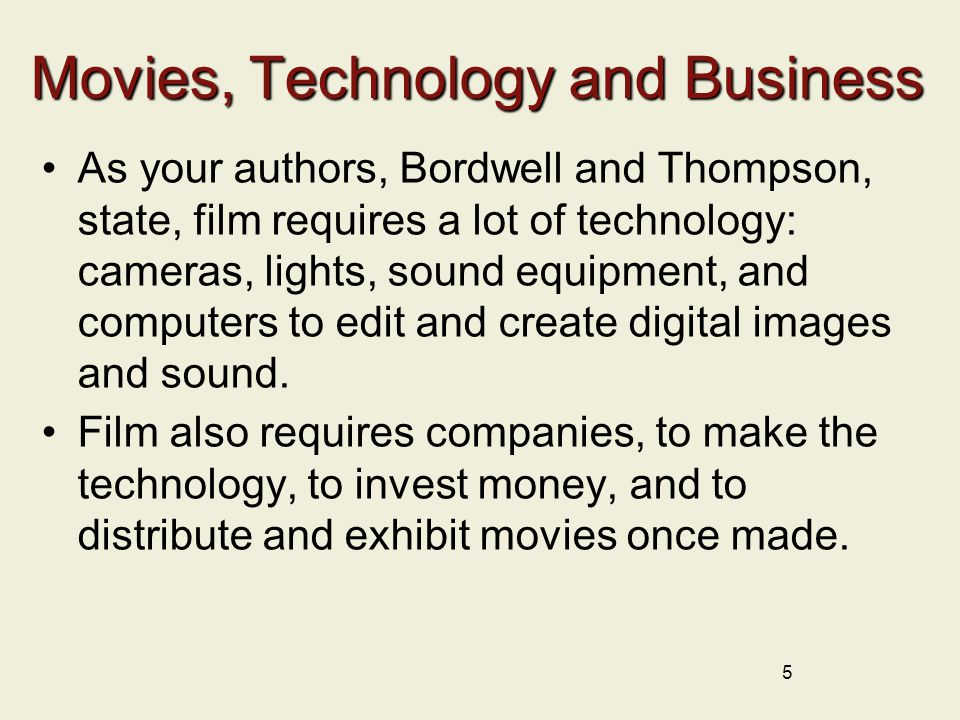 Movies, Technology and Business