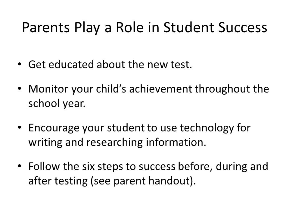 Parents Play a Role in Student Success