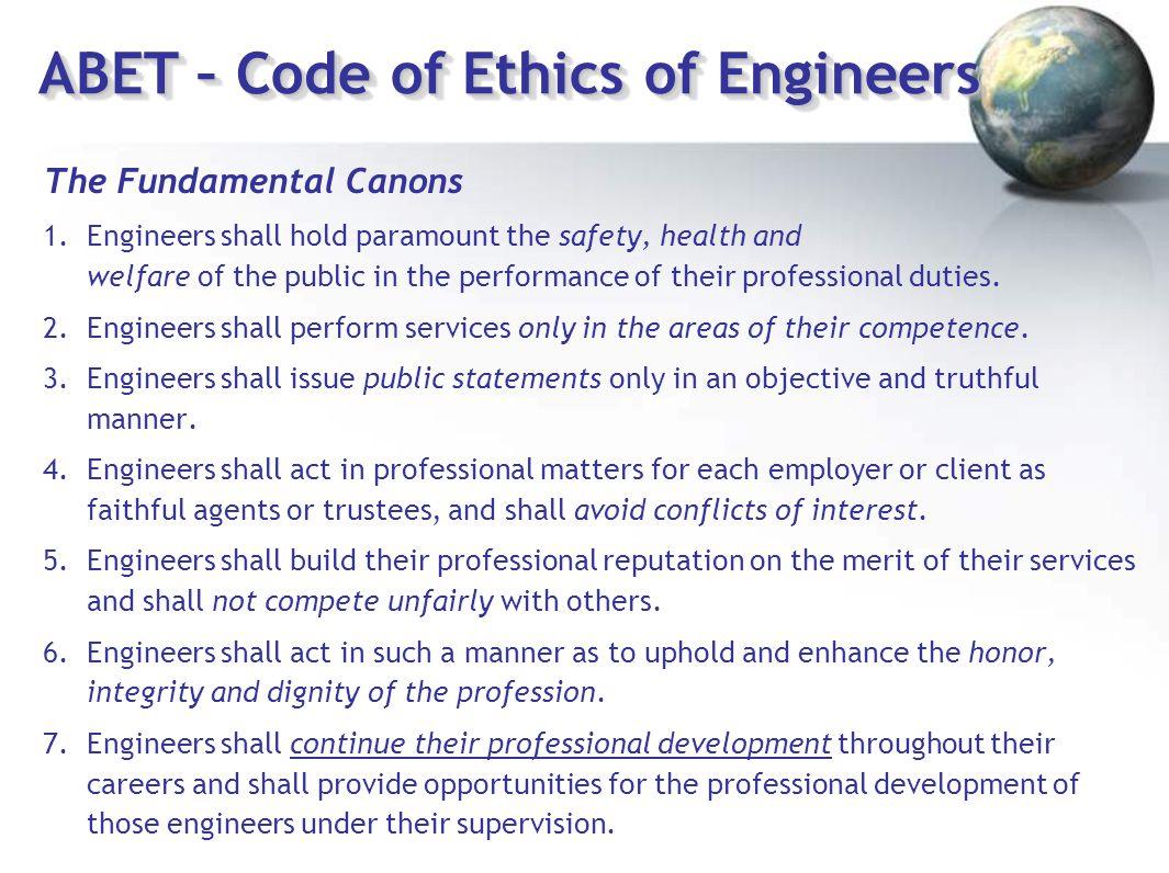 ABET – Code of Ethics of Engineers