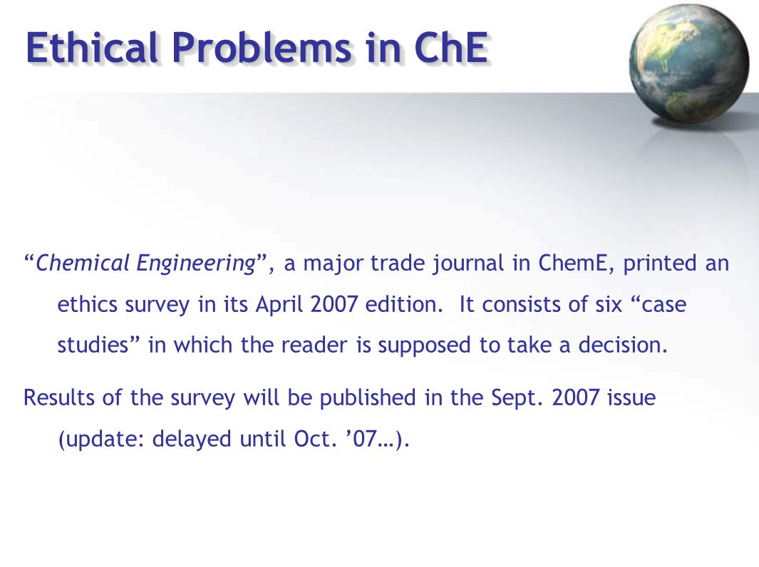Chemical engineering ethics case studies