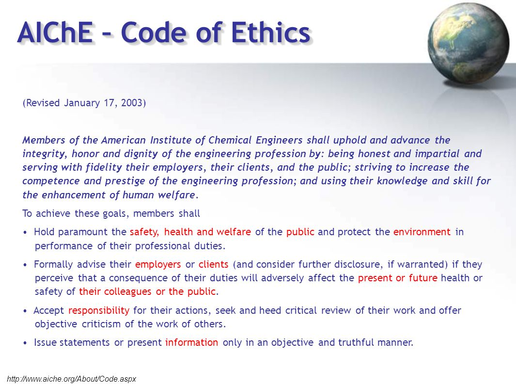 AIChE – Code of Ethics (Revised January 17, 2003)