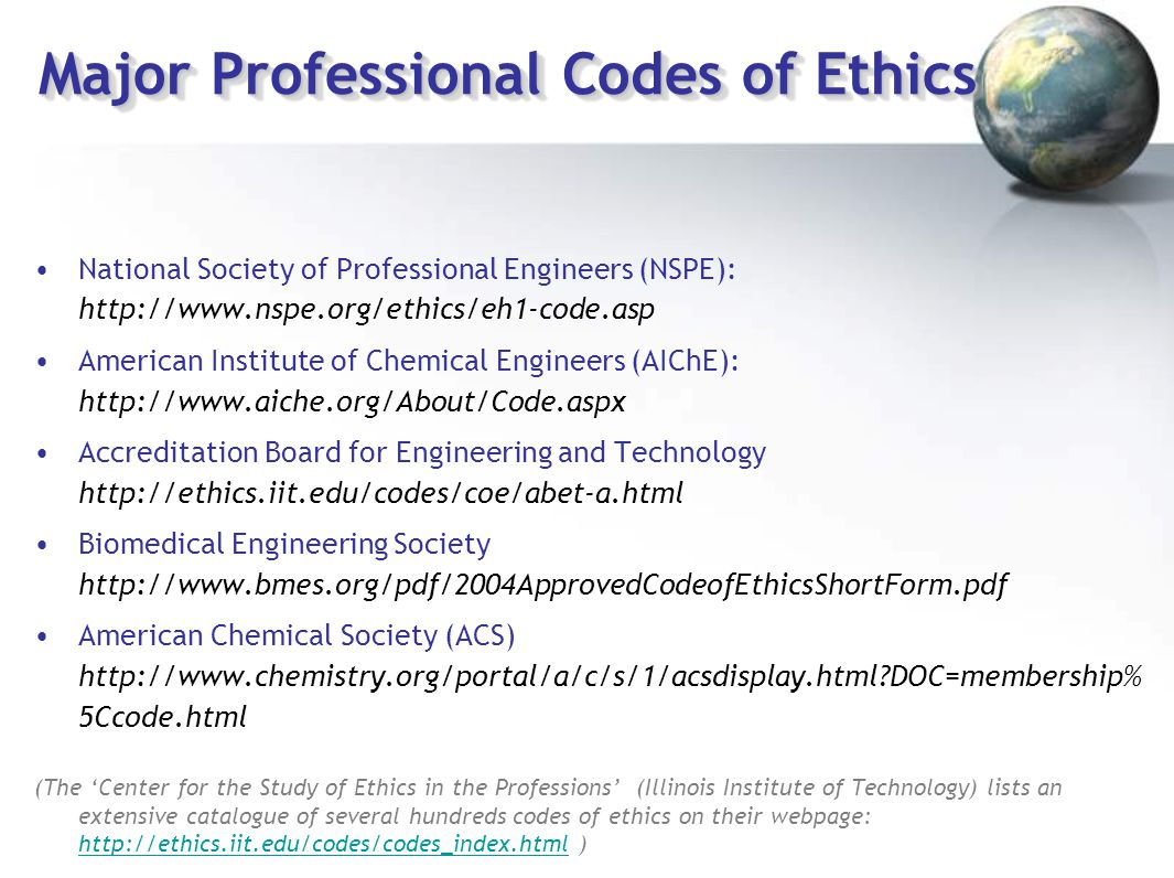 Major Professional Codes of Ethics