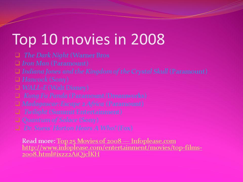 Top 10 movies in 2008 The Dark Night (Warner Bros Iron Man (Paramount)