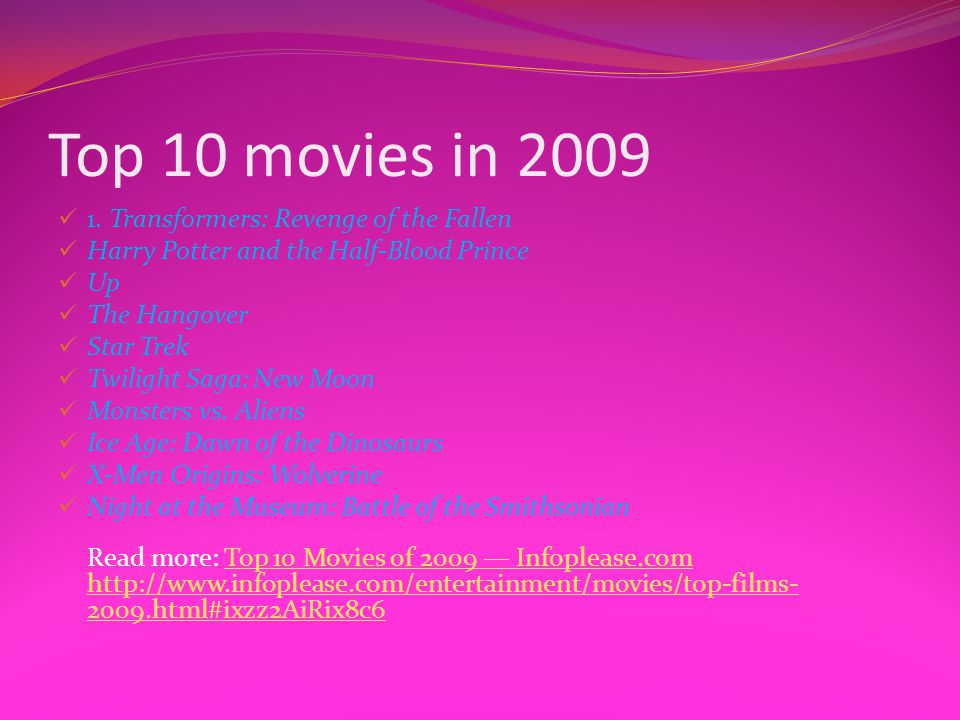 Top 10 movies in 2009 1. Transformers: Revenge of the Fallen