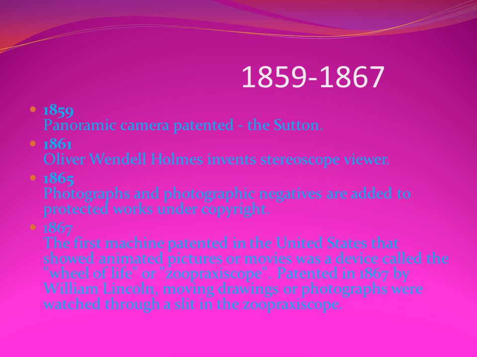 1859-1867 1859 Panoramic camera patented - the Sutton.