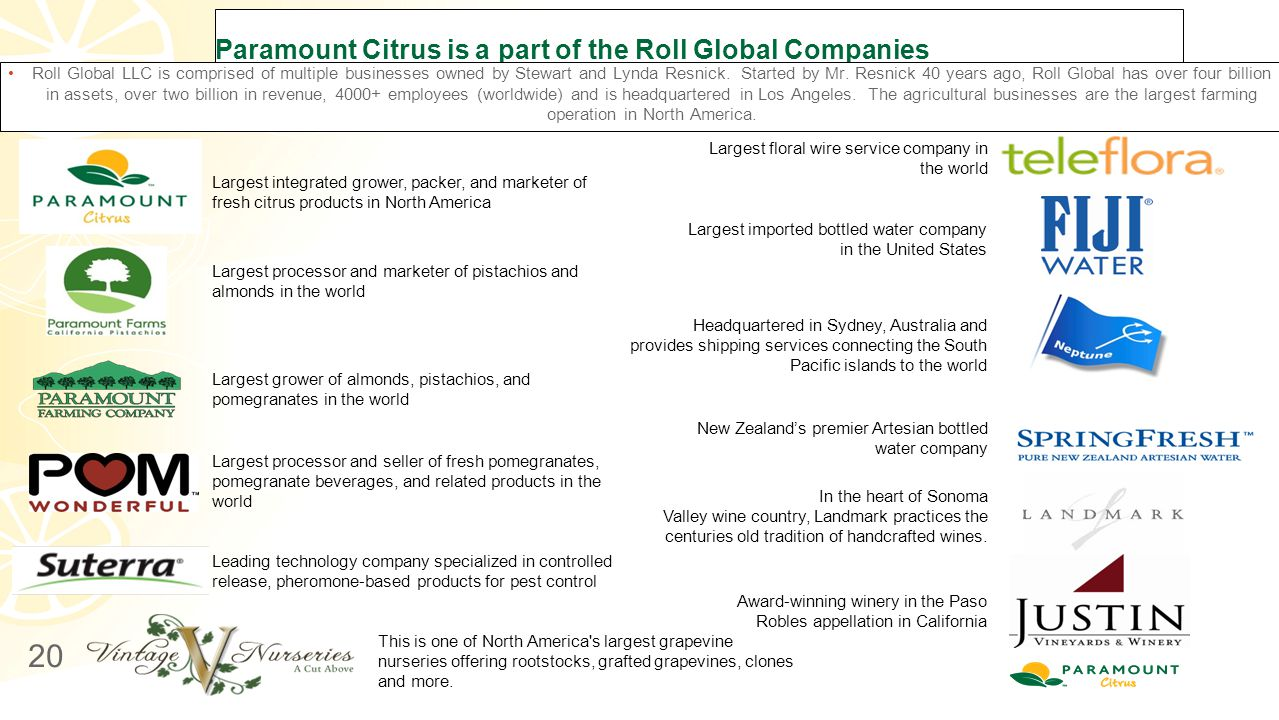 Paramount Citrus is a part of the Roll Global Companies