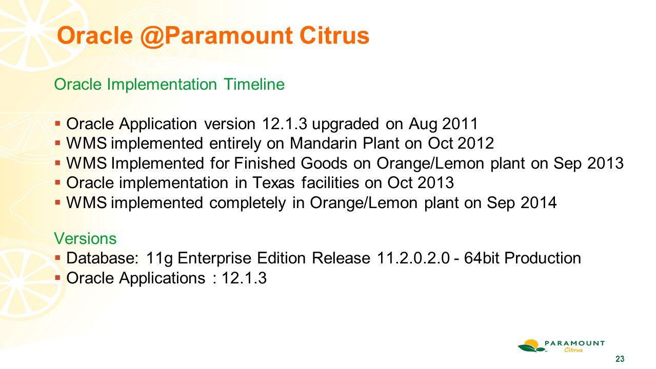 Oracle @Paramount Citrus