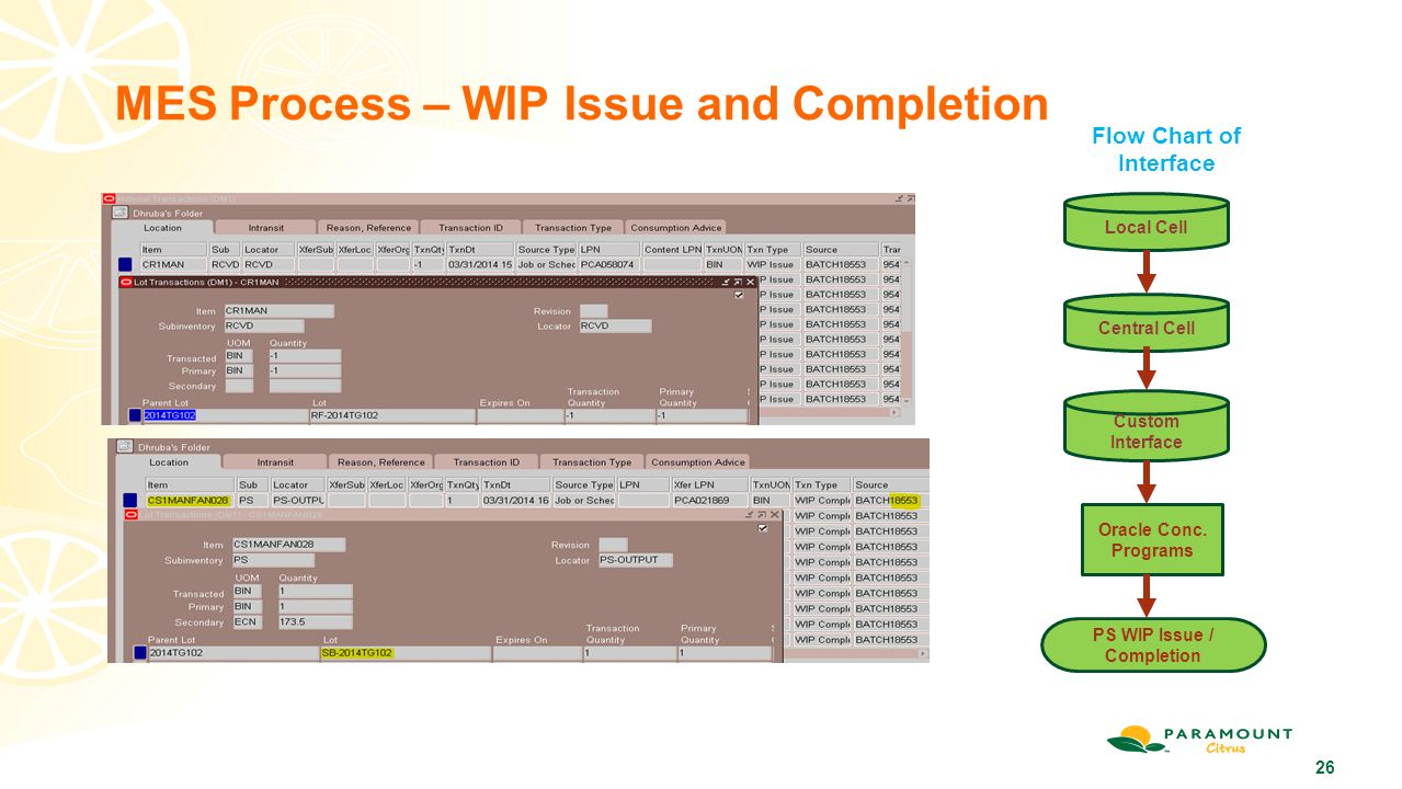 MES Process – WIP Issue and Completion