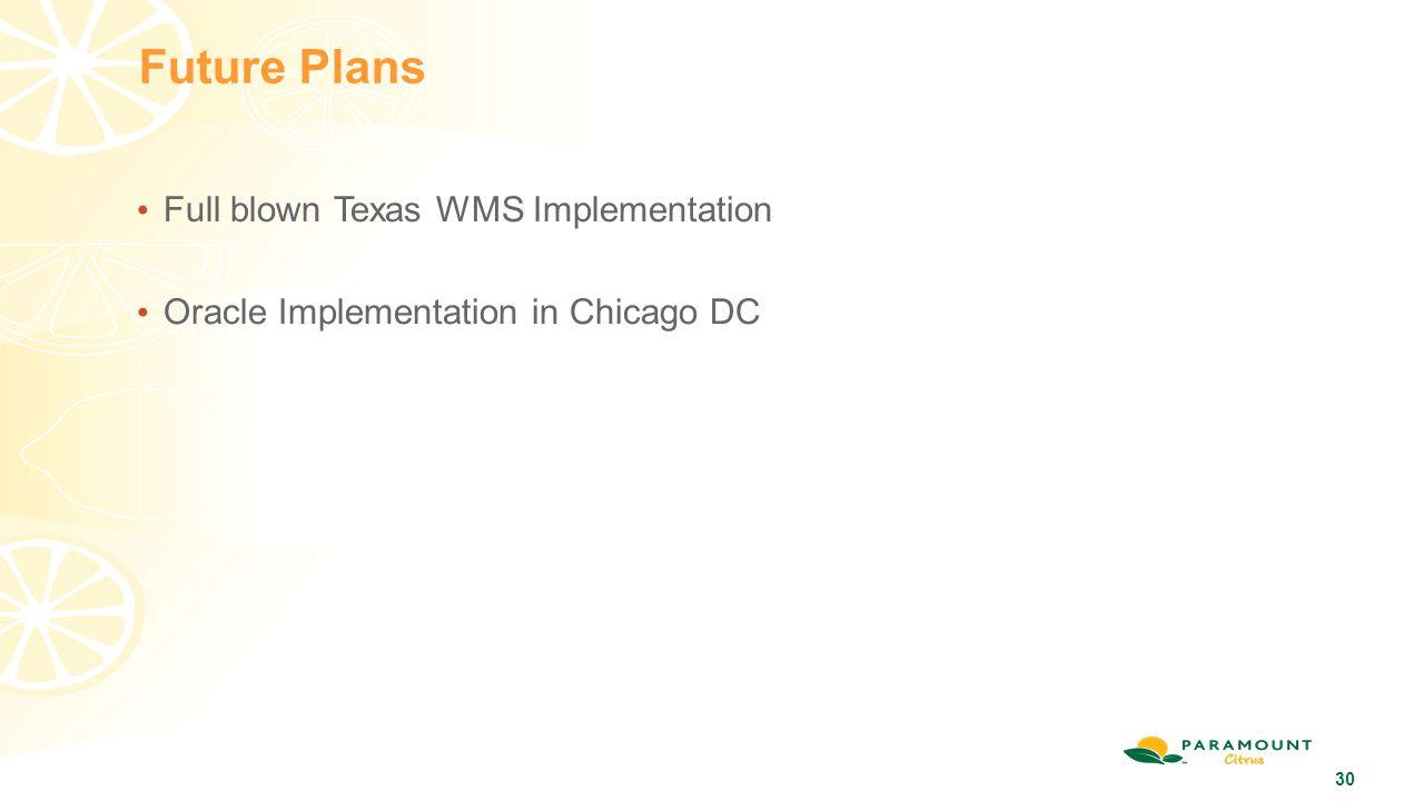 Future Plans Full blown Texas WMS Implementation