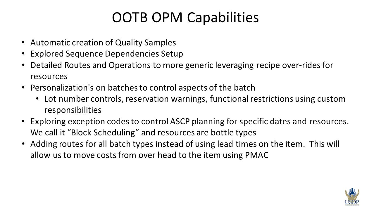 OOTB OPM Capabilities Automatic creation of Quality Samples
