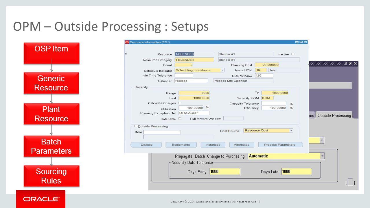 OPM – Outside Processing : Setups