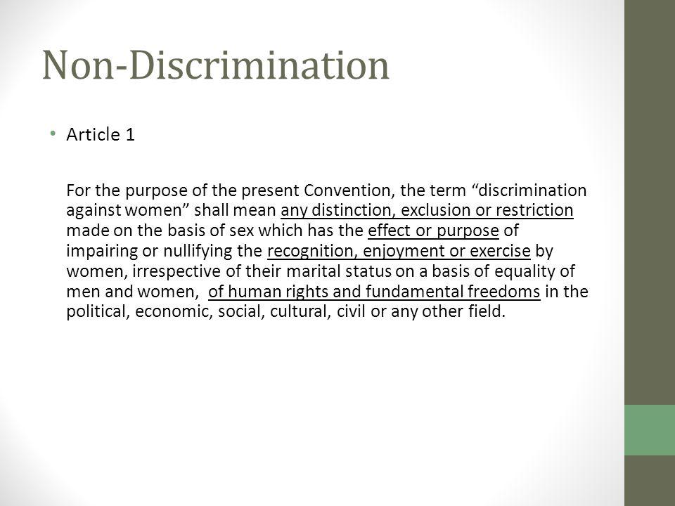 Non-Discrimination Article 1