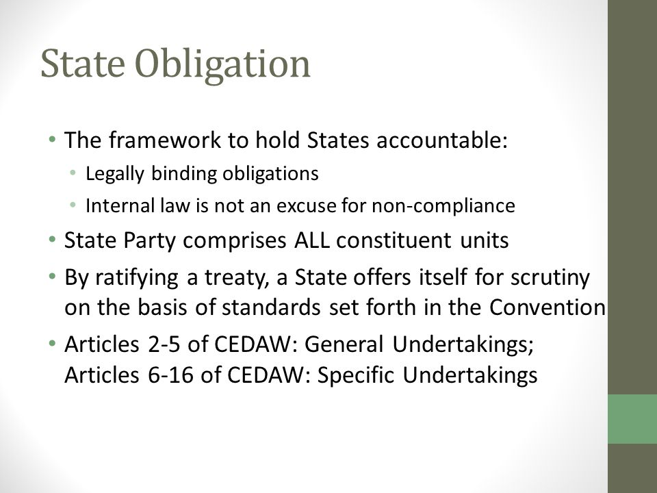 State Obligation The framework to hold States accountable: