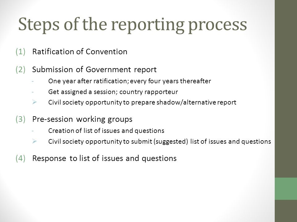 Steps of the reporting process