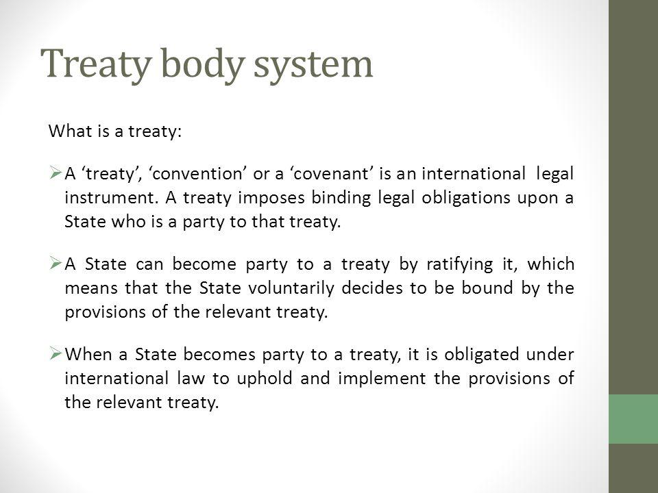 Treaty body system What is a treaty: